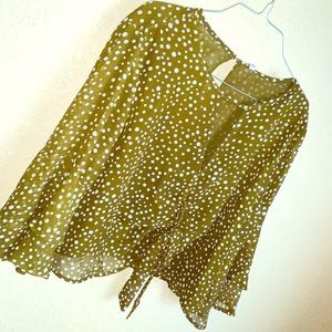 Cute Sassy polka'd tie front Blouse